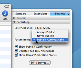 Publishing settings screenshot
