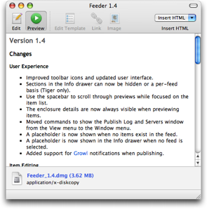 Feeder showing Sparkle release notes