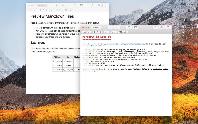 Markdown Editor in Keep It for Mac