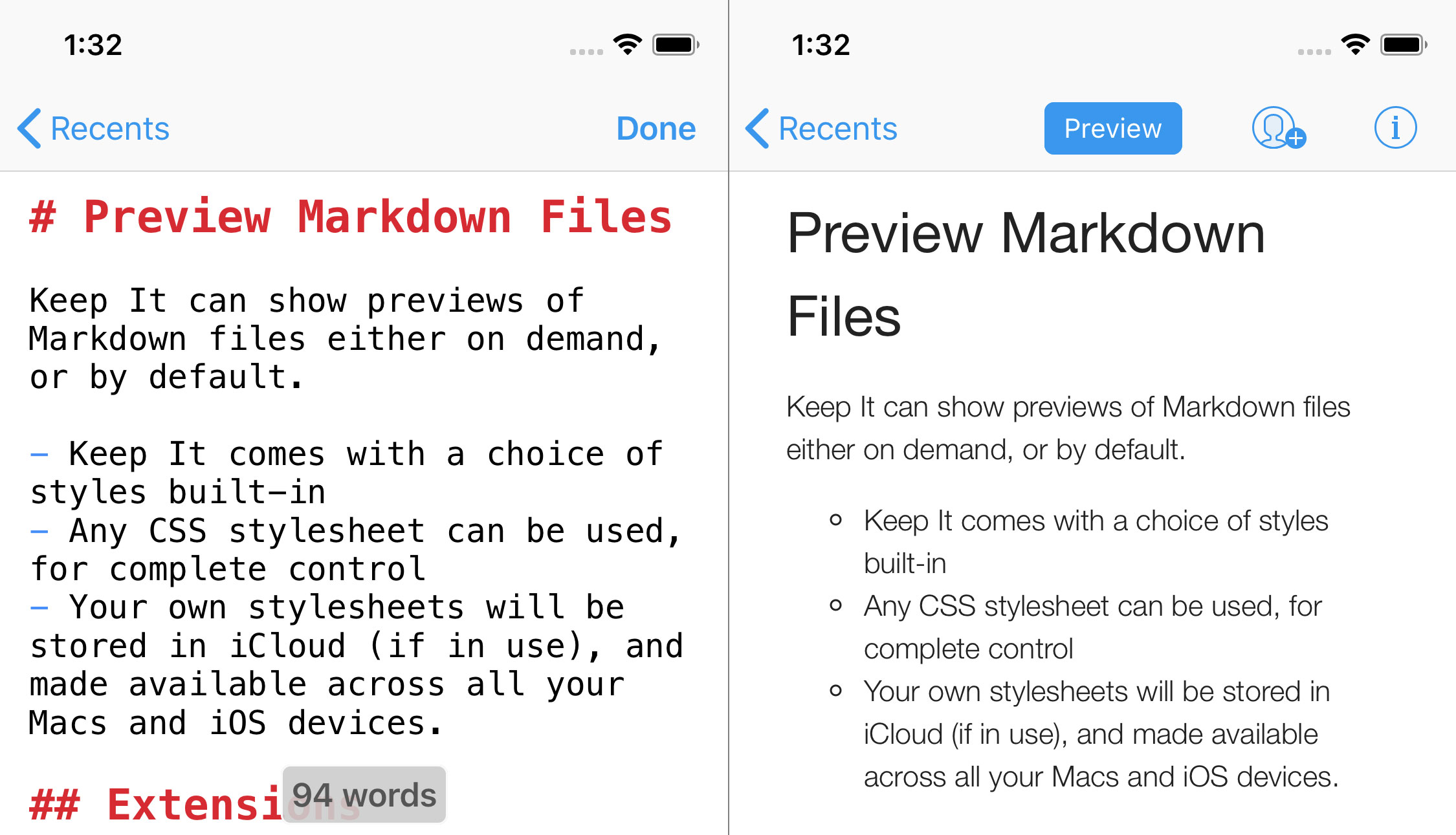 Markdown editor in Keep It for iPhone