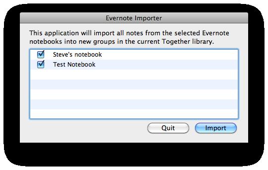 Evernote Importer screenshot