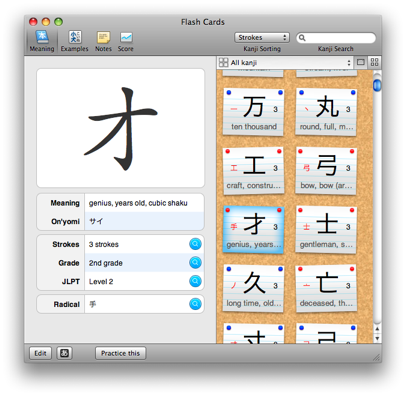iKanji is an application for learning Japanese kanji characters on the Mac