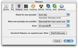 Podcast Preferences in iTunes