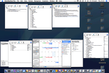 Screenshot of lots of OmniOutliner documents and iCal To Do items