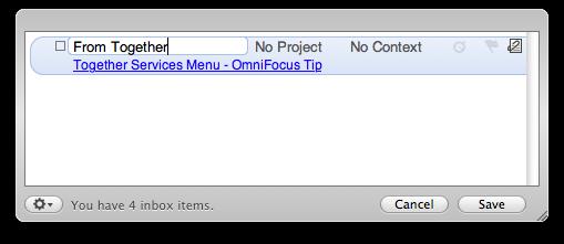 OmniFocus Quick Entry window