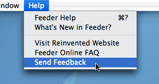 Screenshot of Feeder's Send Feedback feature