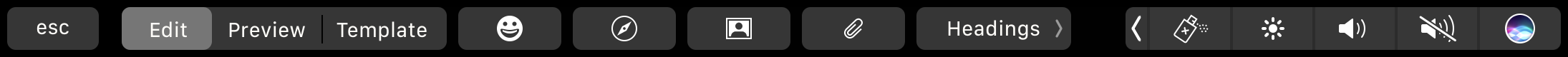 HTML Editor Touch Bar