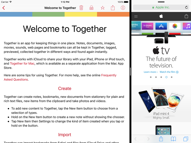 Together 1.3 for iPad and iPhone