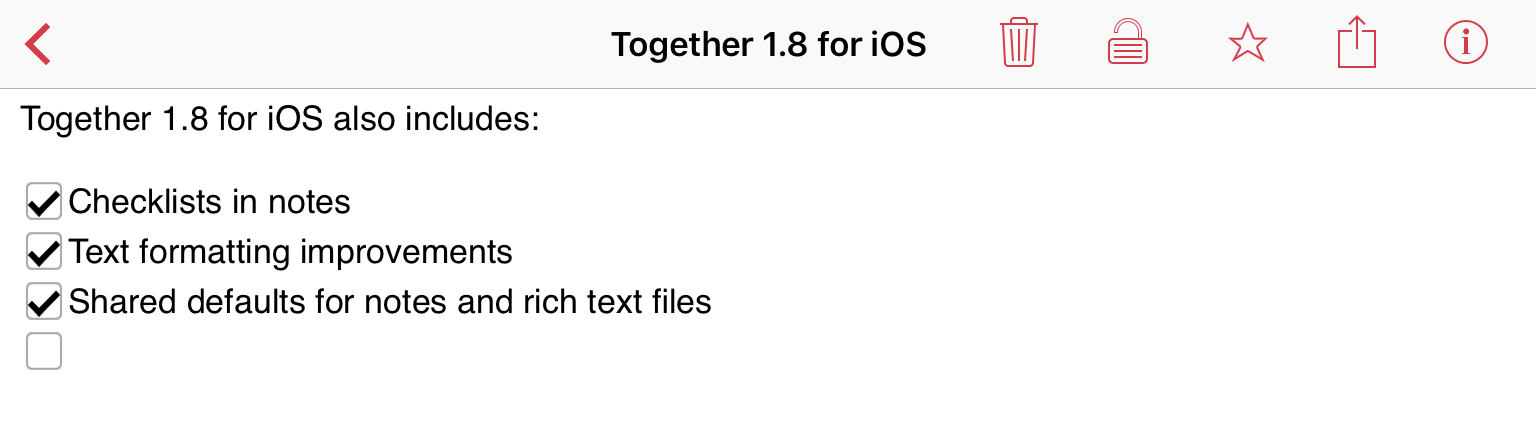 Checklists in Together 1.8 for iOS