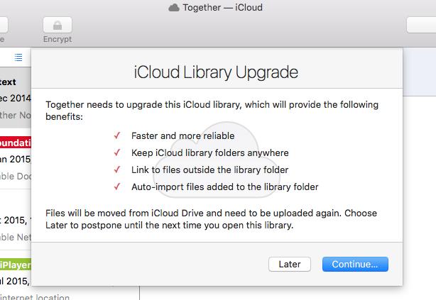 Togetehr 3.5 iCloud Upgrade sheet