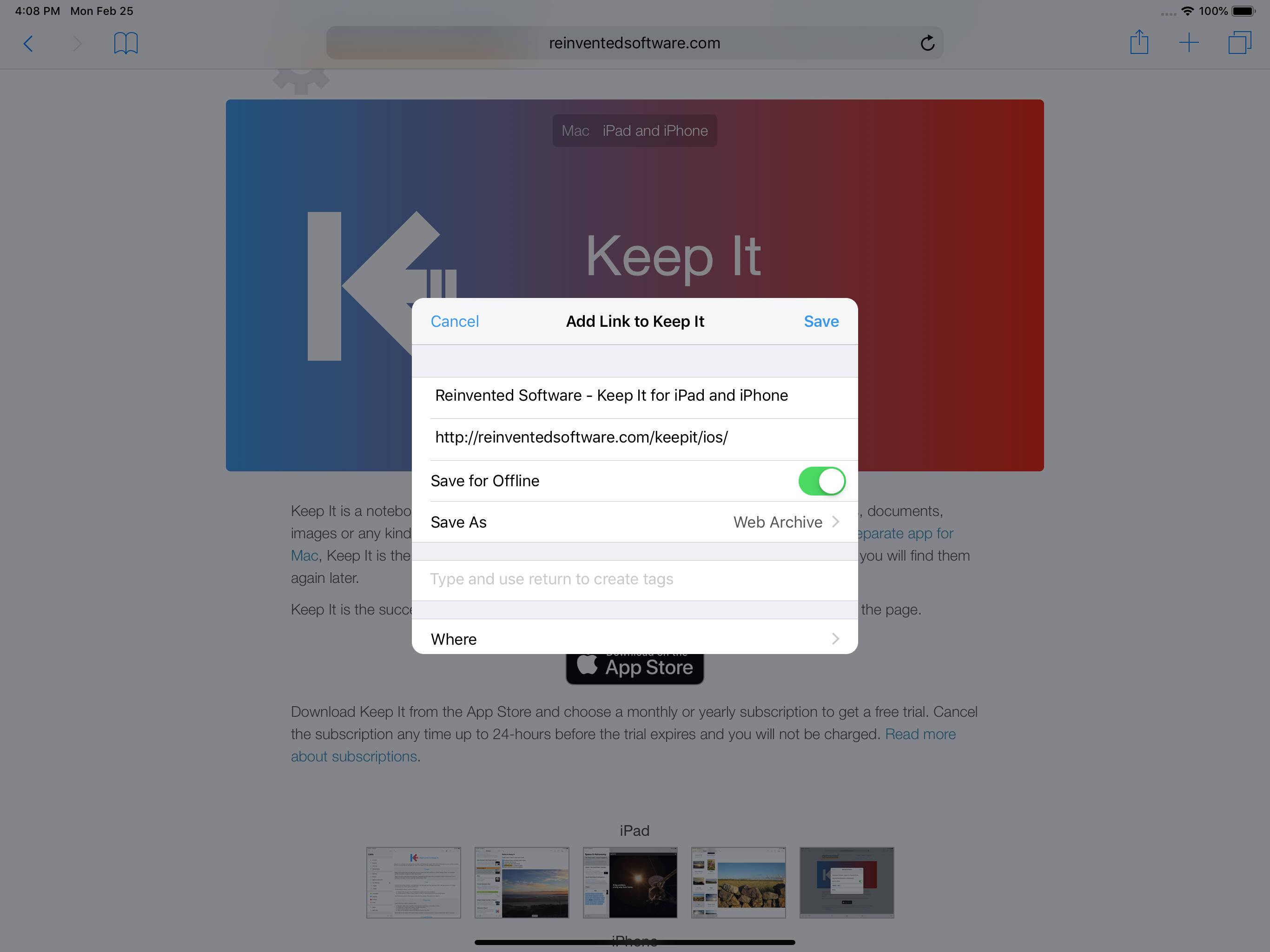 Keep It 1.6 for iPad, showing how to save a web link as a web archive in Safari
