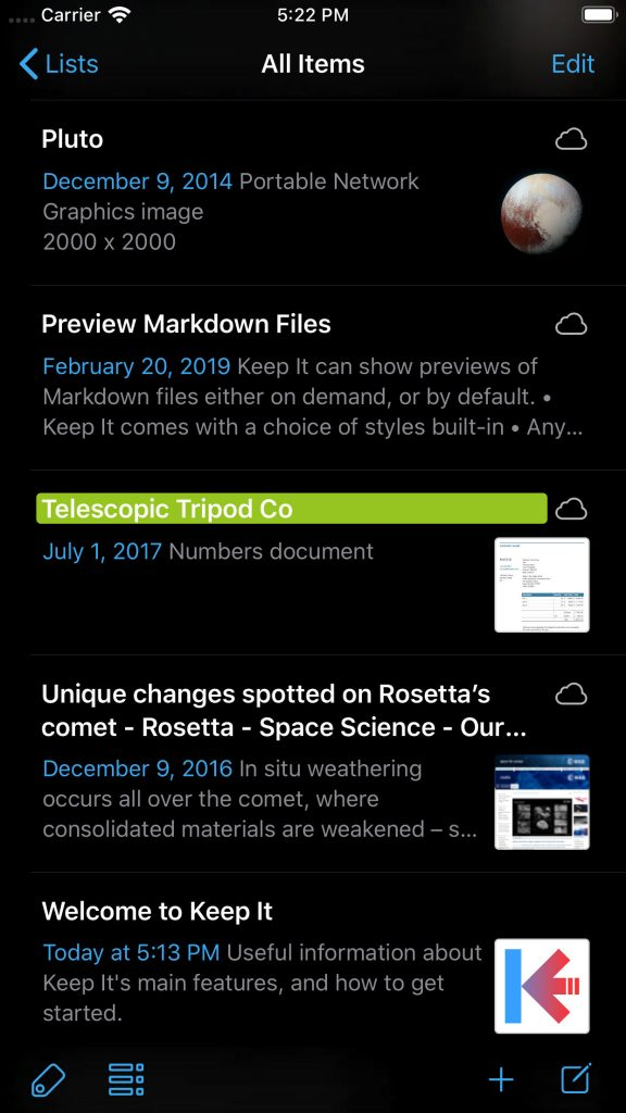 Keep It 1.7 on iPhone in Dark Mode