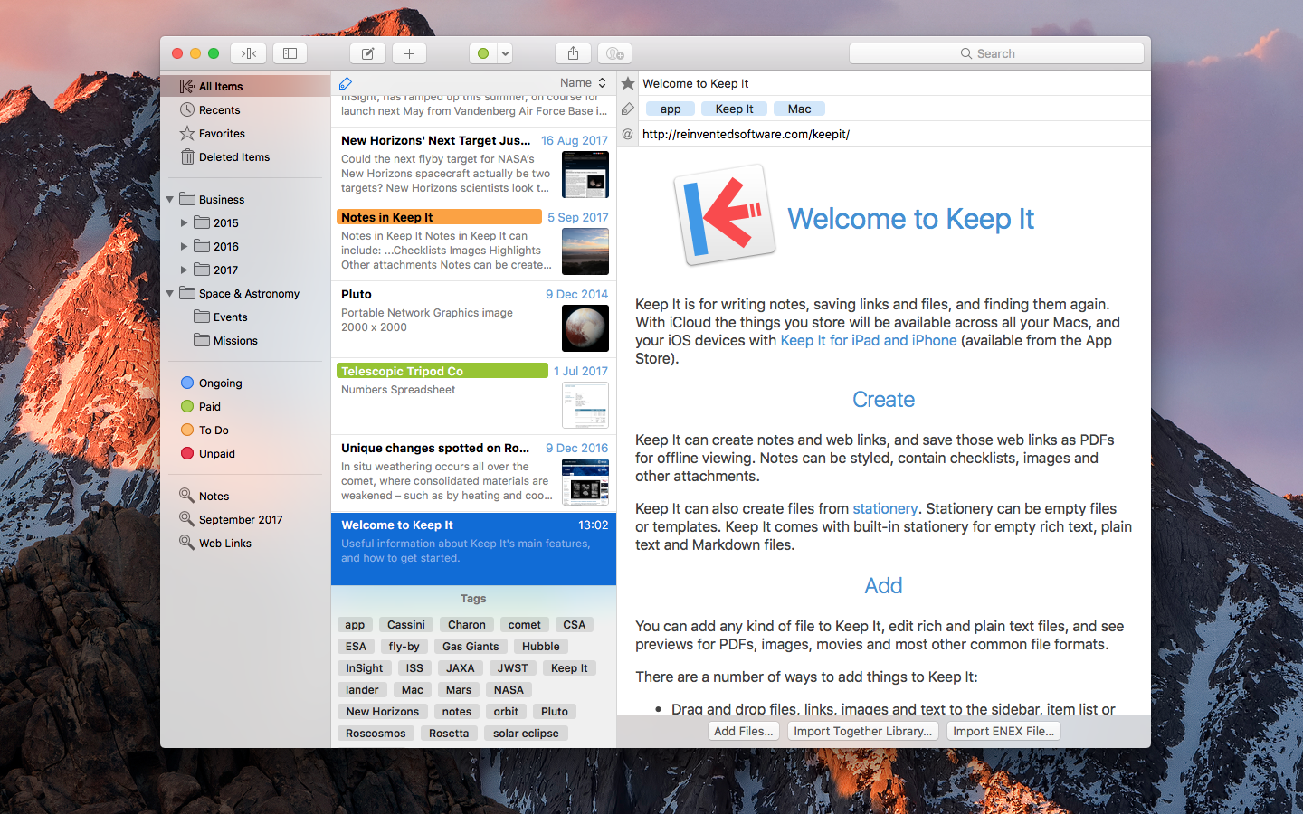 Reinvented Software introduces Keep It 1.0 for OS X Image