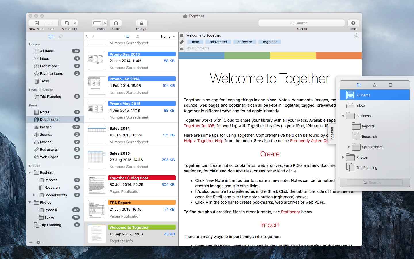 Together for Mac and iOS iCloud Update Image