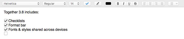 Format bar in Together 3.8 for Mac