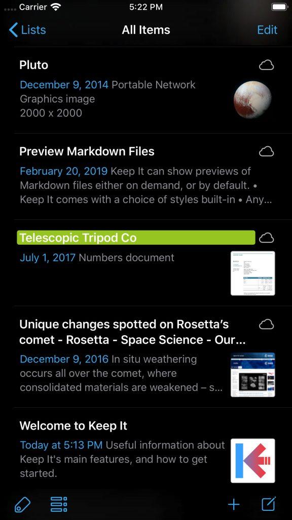 Keep It 1.7 on iPhone in Dark Mode