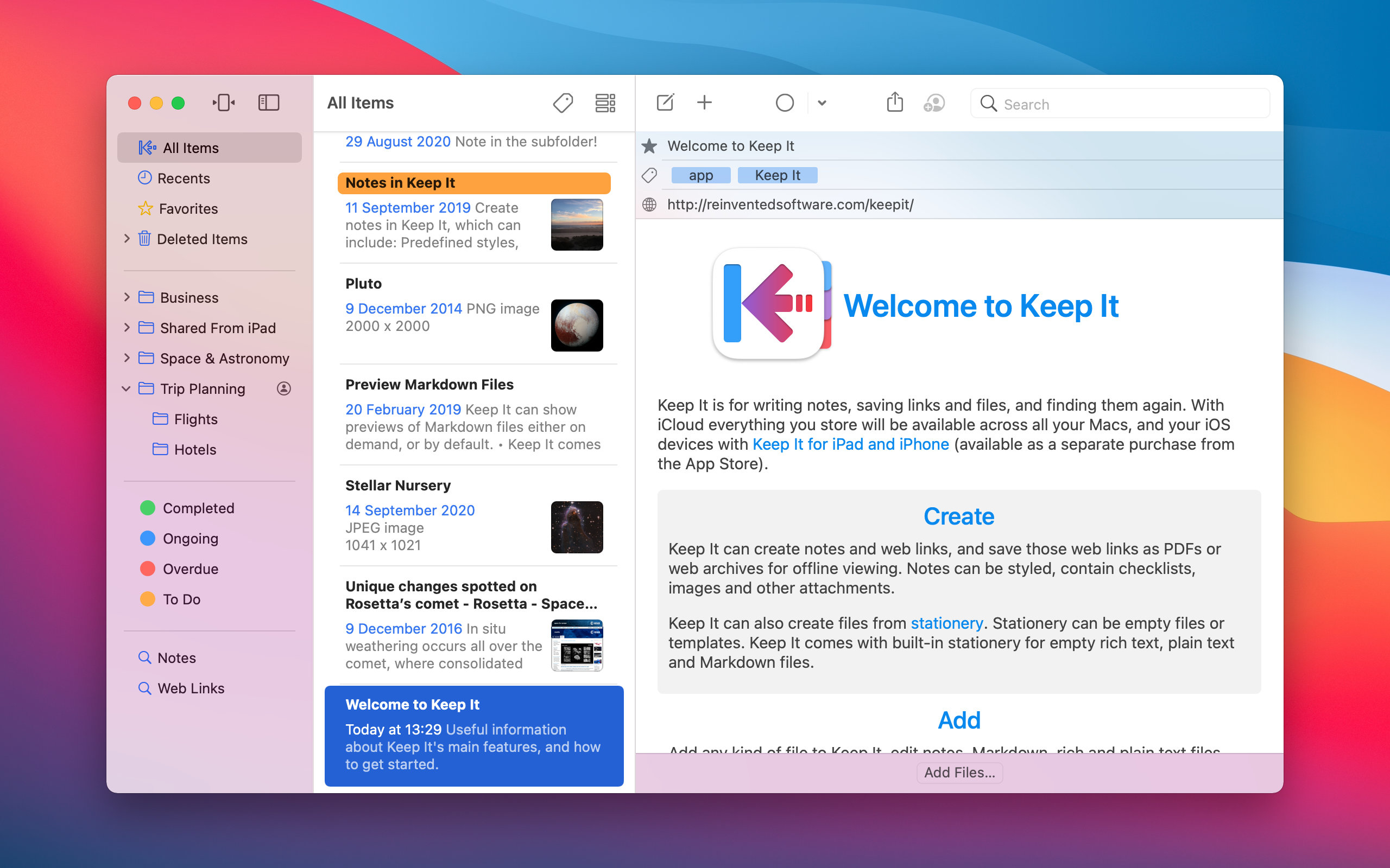 Screenshot of Keep It 1.9 for macOS Big Sur