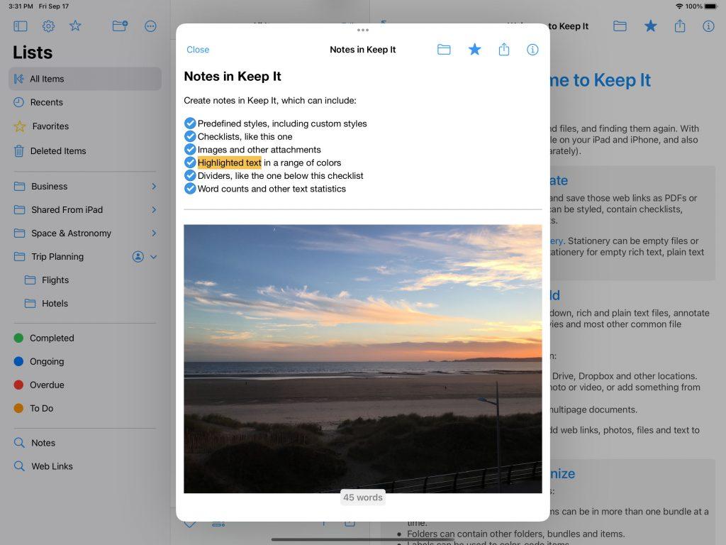 Keep It 1.11 for iPad note editor window open